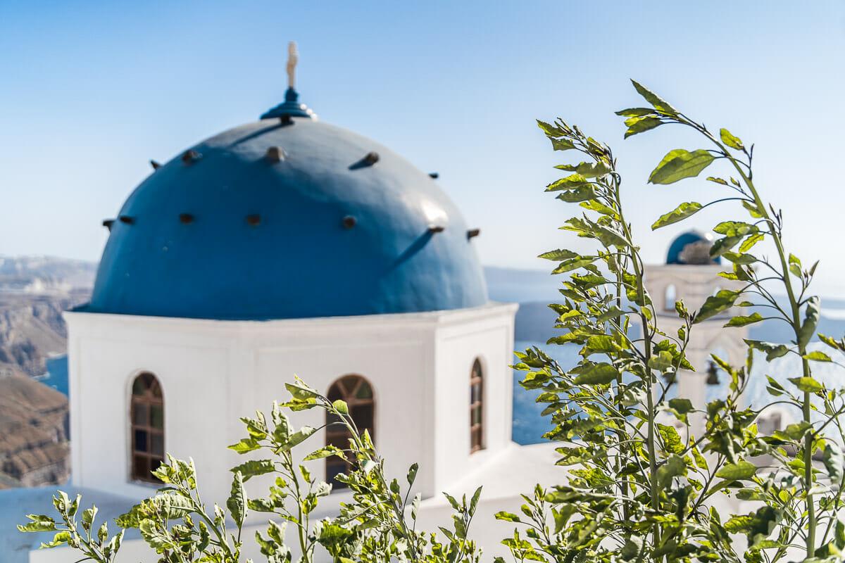 Blue domes in Imerovigli, Santorini