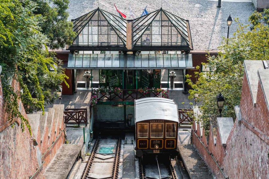Brown cable car in Budapest that takes you up to the Buda Castle