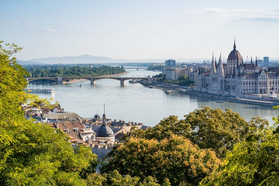The view of Budapest from the Buda Castle with the Margaret Bridge and the Hungarian Parliament