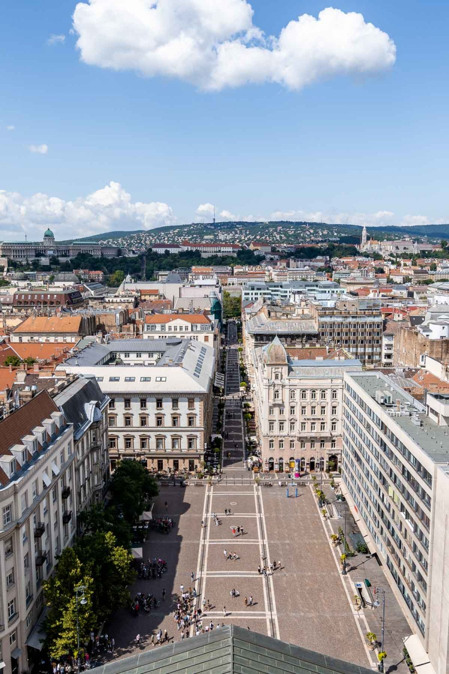 View of the St. Stephen Square and the city of Budapest from the St. Stephen Basilica