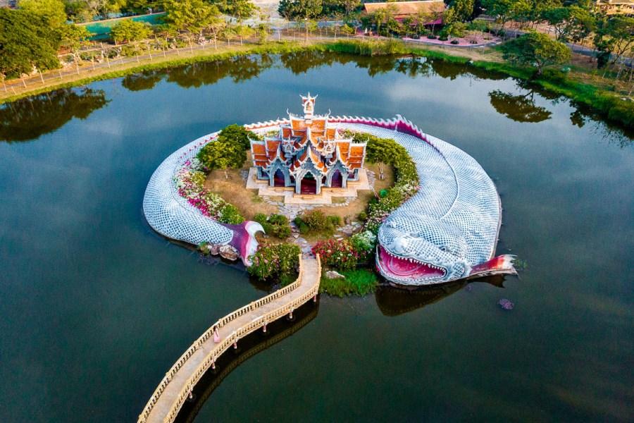 Giant fish temple at the Ancient Siam Bangkok