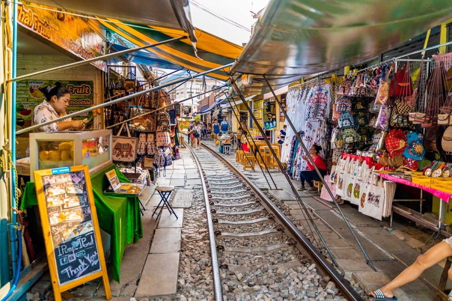 Maeklong Railway Market in Bangkok