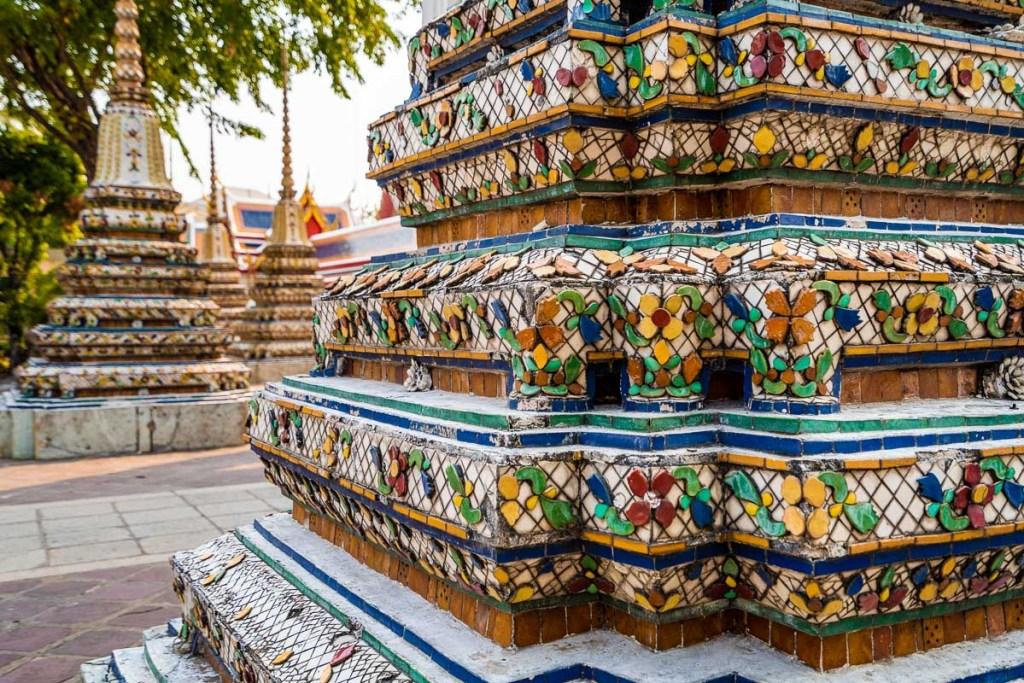 Beautifully decorated stupas at the Wat Pho in Bangkok