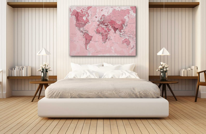Pink World Map Canvas