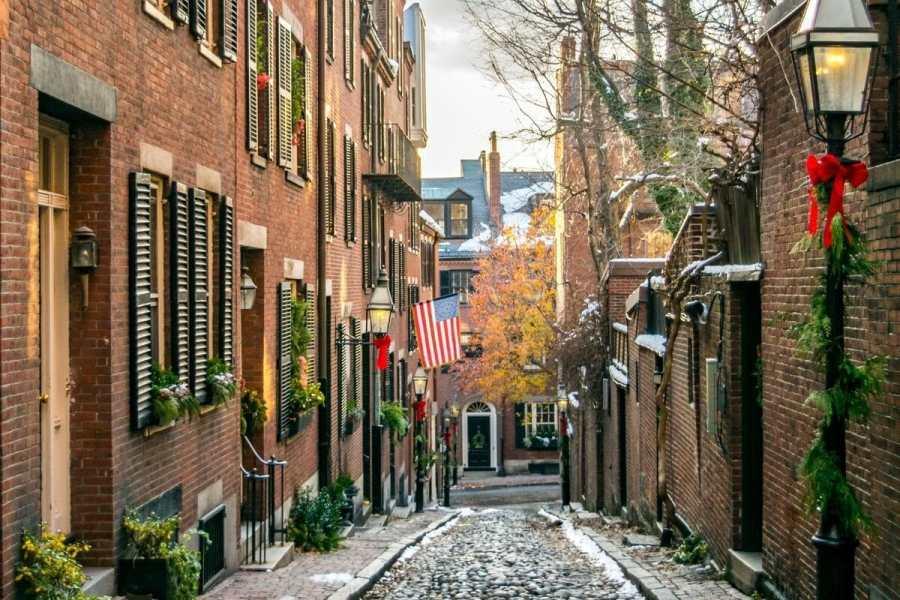 Acorn Street at Christmas in Boston, USA