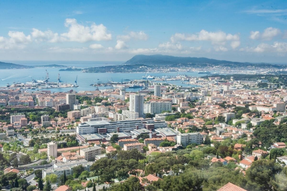 Aerial city view of Toulon, France