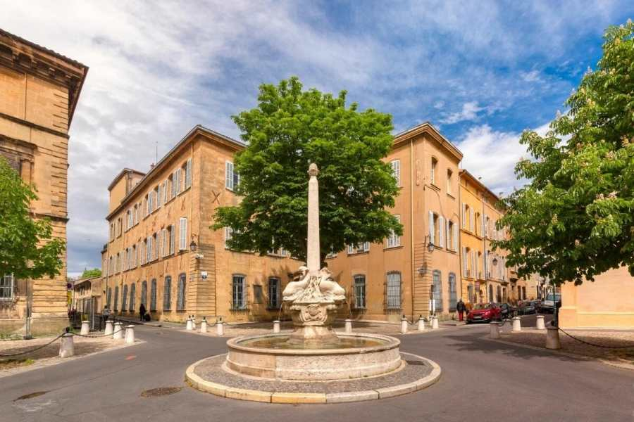 Beautiful square in Aix-en-Provence, France