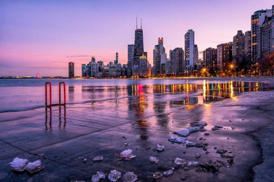 Chicago skyline at sunset during winter in the USA