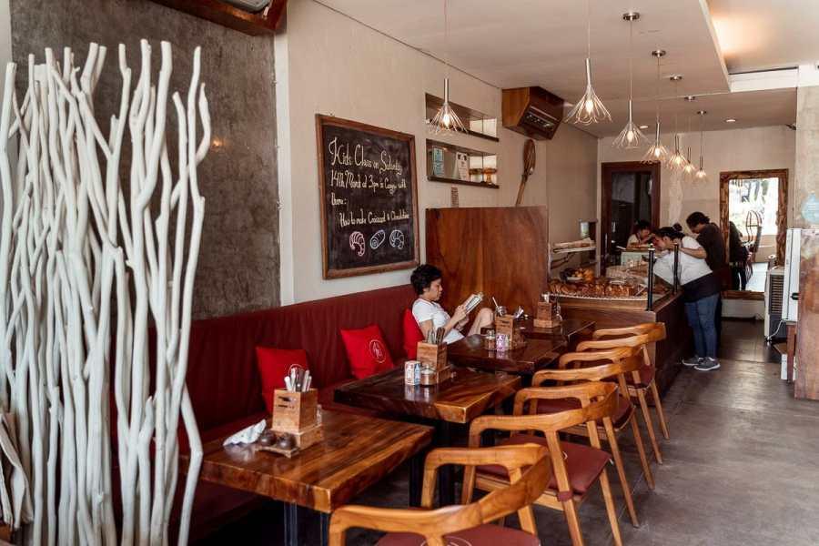 Inside eating area at Monsieur Spoon in Canggu, Bali