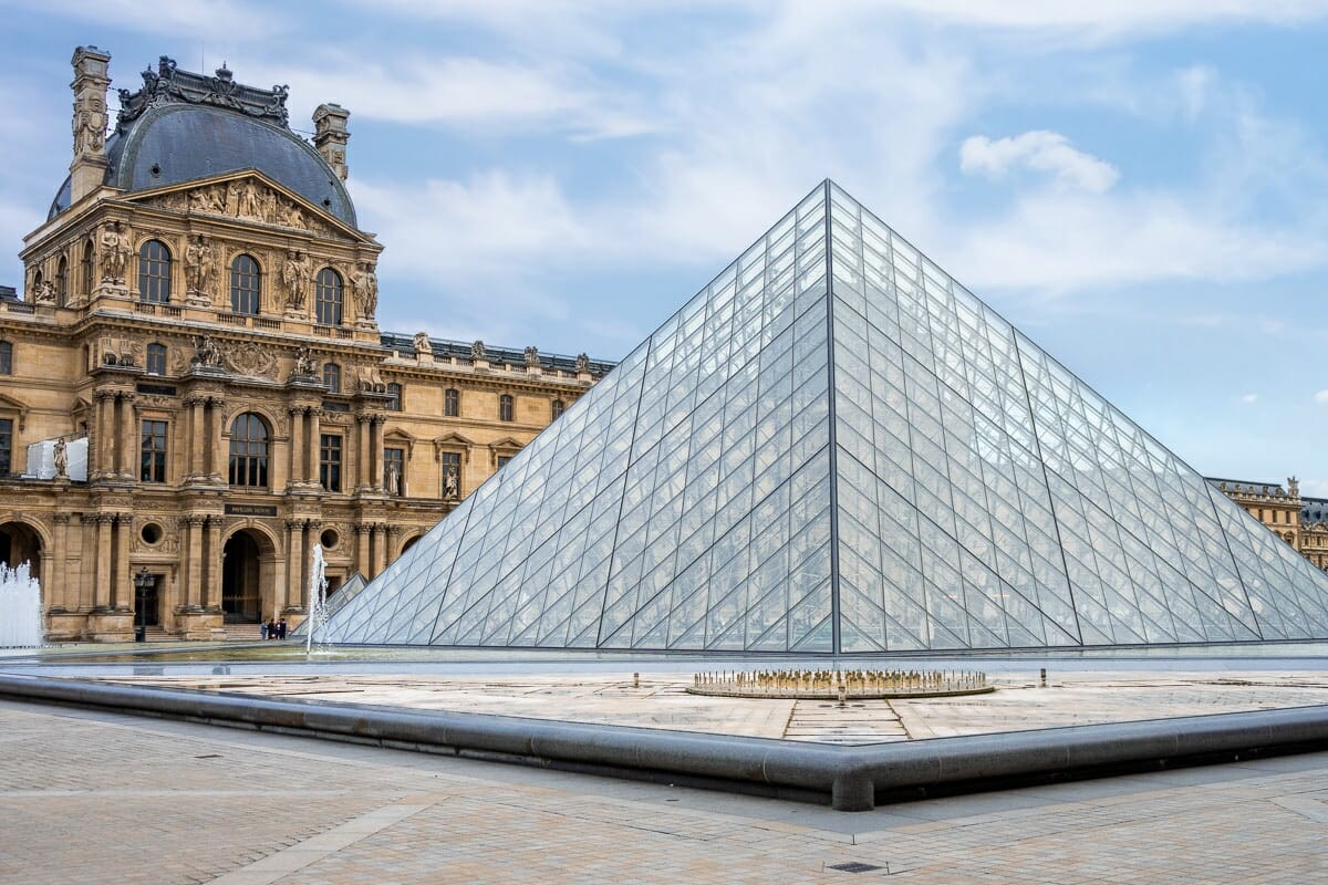 The courtyard with the glass pyramids at Musée du Louvre in Paris