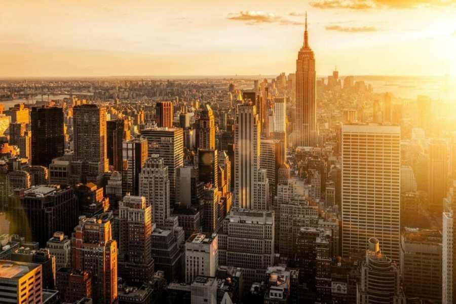 NYC skyline in golden light