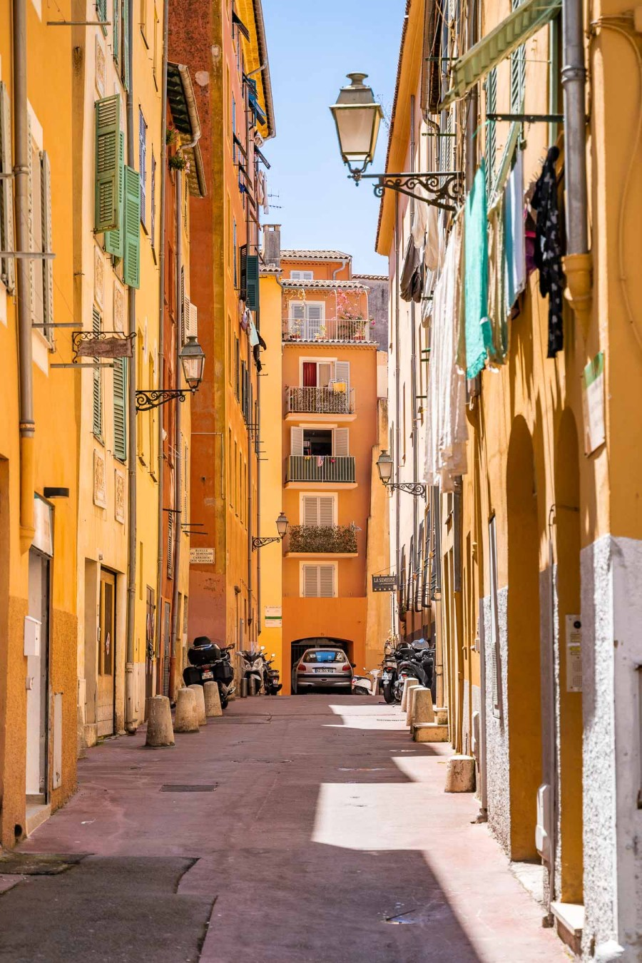 Colorful buildings in the Old Town of Nice, France