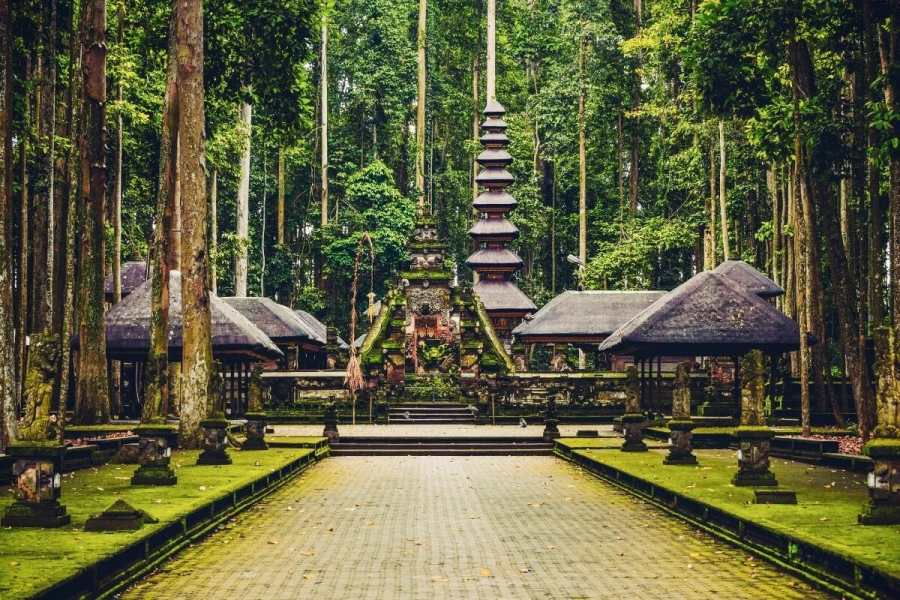 Temples in the Sacred Monkey Forest Sanctuary in Ubud, Bali