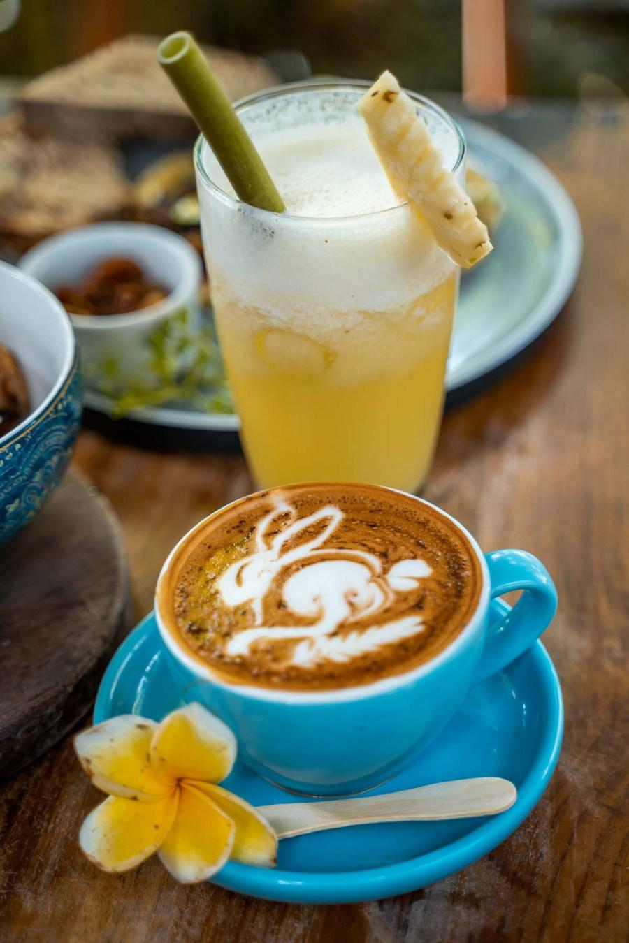 Morning cappuccino at the Shady Shack in Canggu, Bali