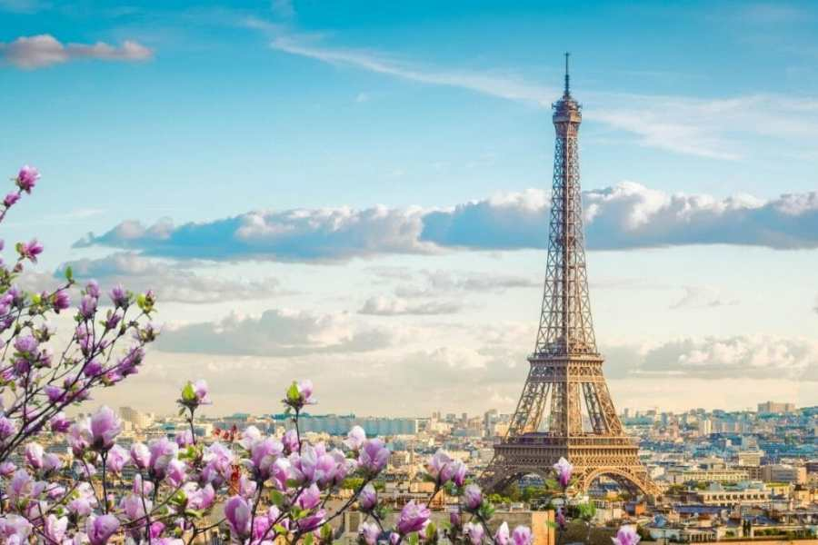 View of Paris in spring with the Eiffel Tower