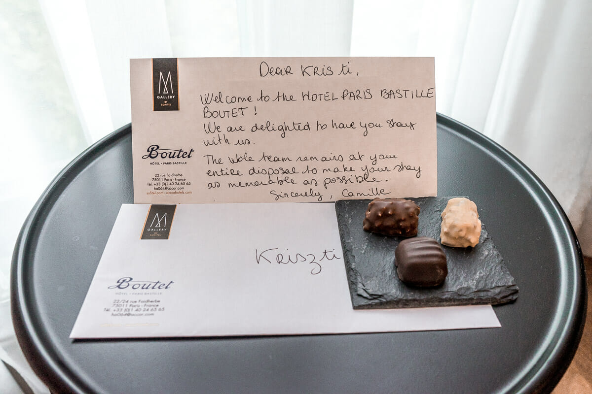 Welcome note in Hotel Paris Bastille Boutet