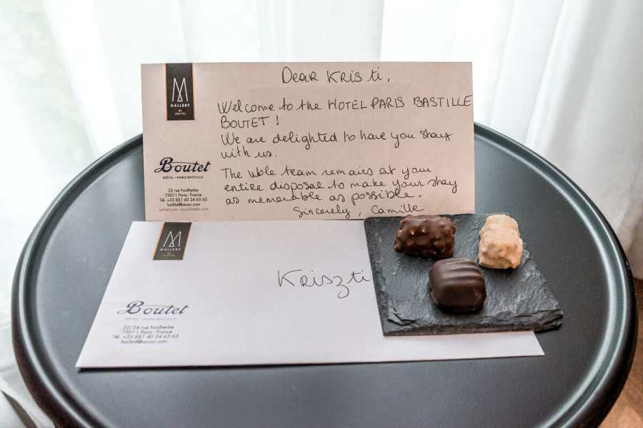 Welcome note in Hotel Paris Bastille Boutet