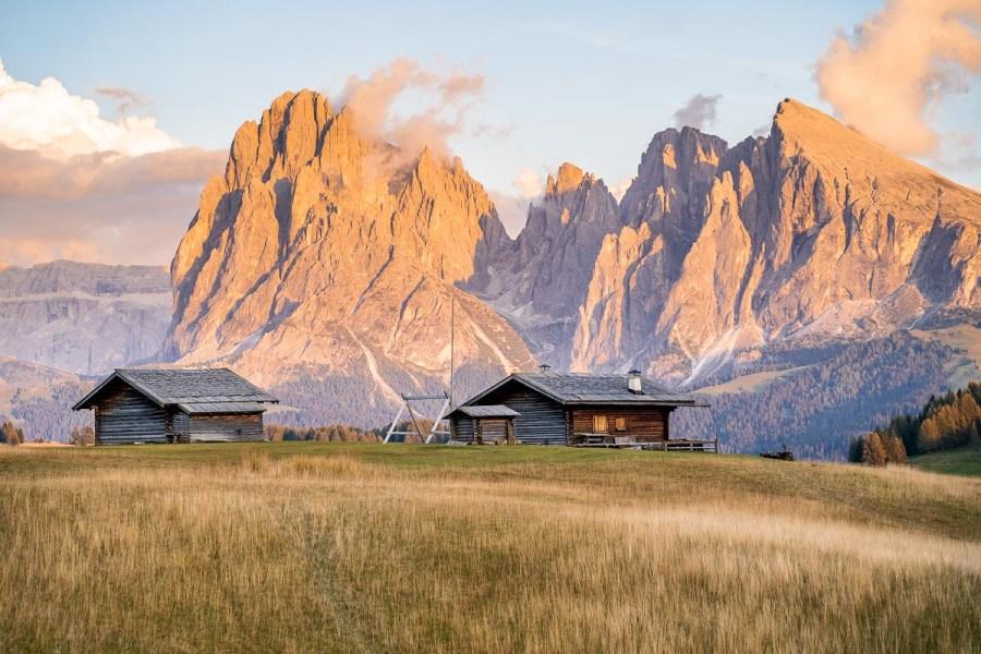 Sunset at Alpe di Siusi in the Italian Dolomites