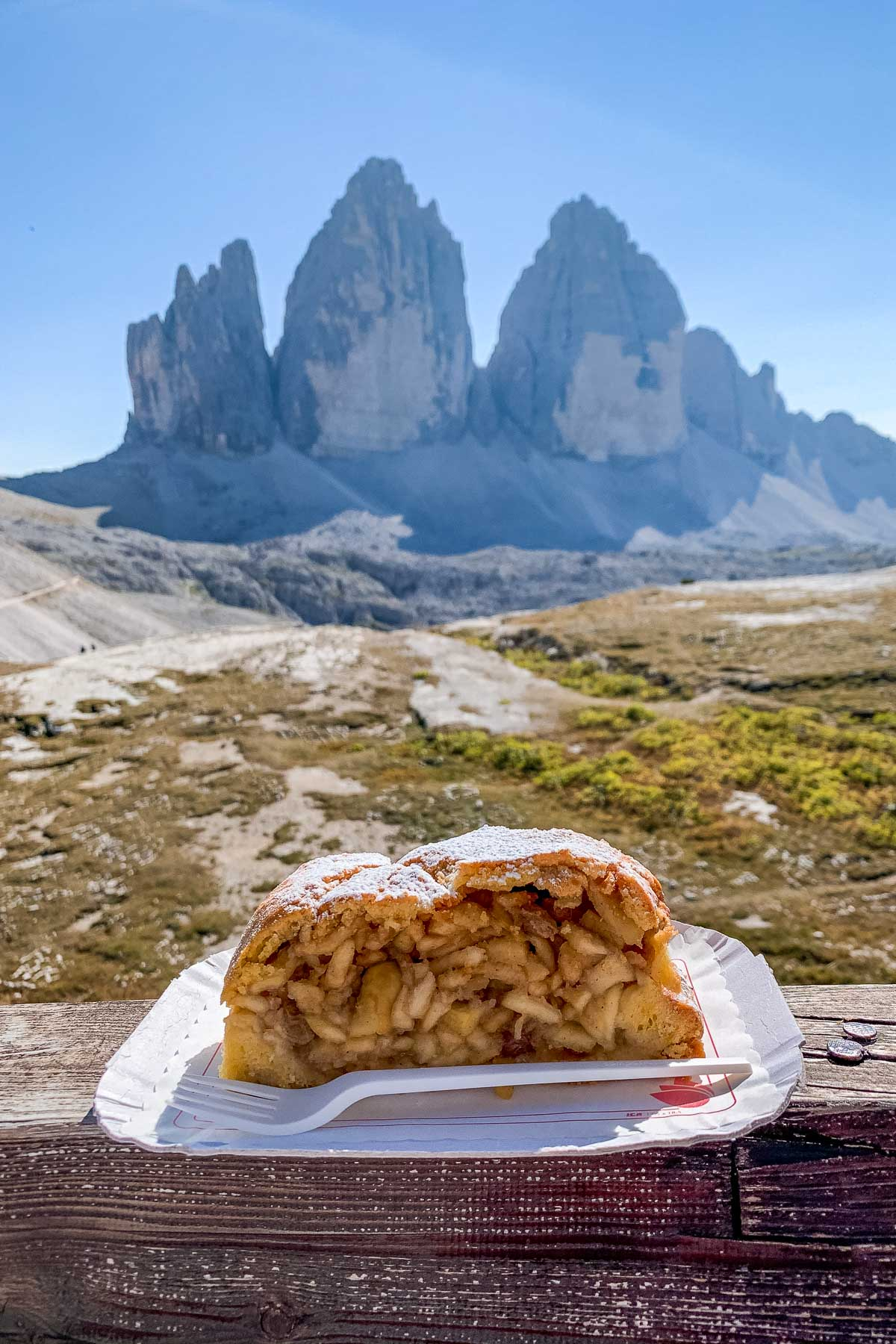 Apple pie with the view of Tre Cime di Lavaredo