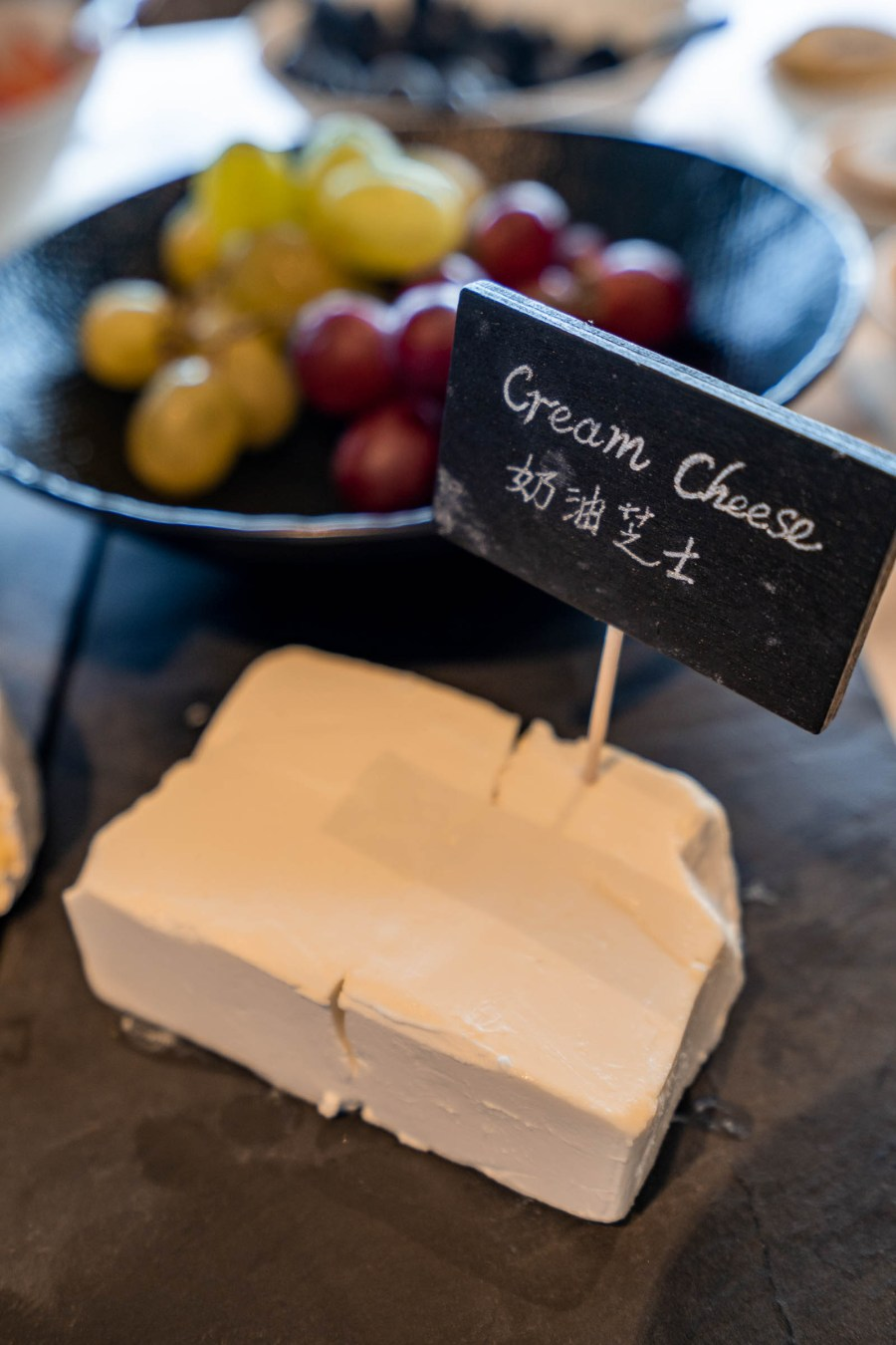Cheese selection with grapes