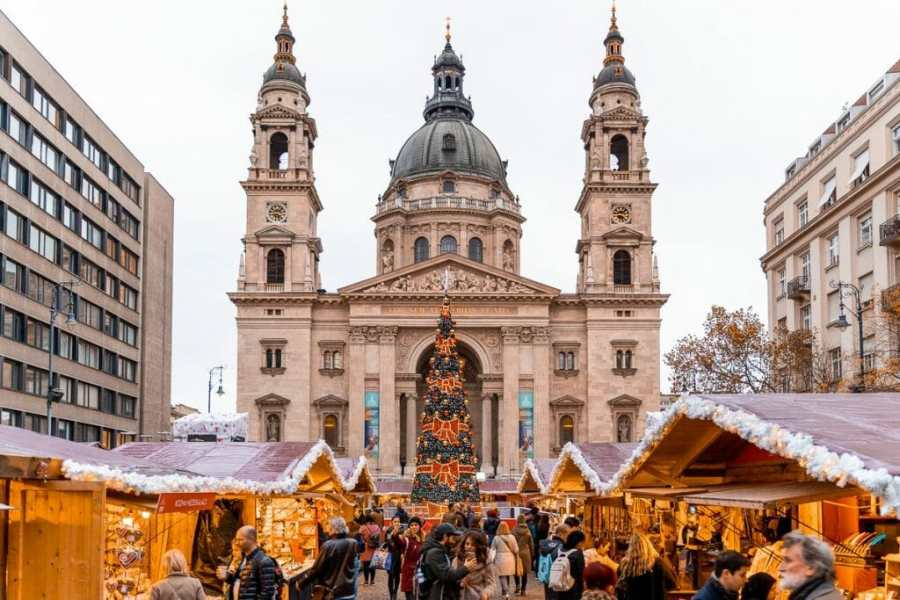 Christmas market in front of the St Stephen Basilica in Budapest