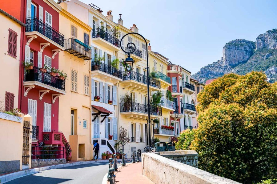 Colorful houses in Monaco Old Town
