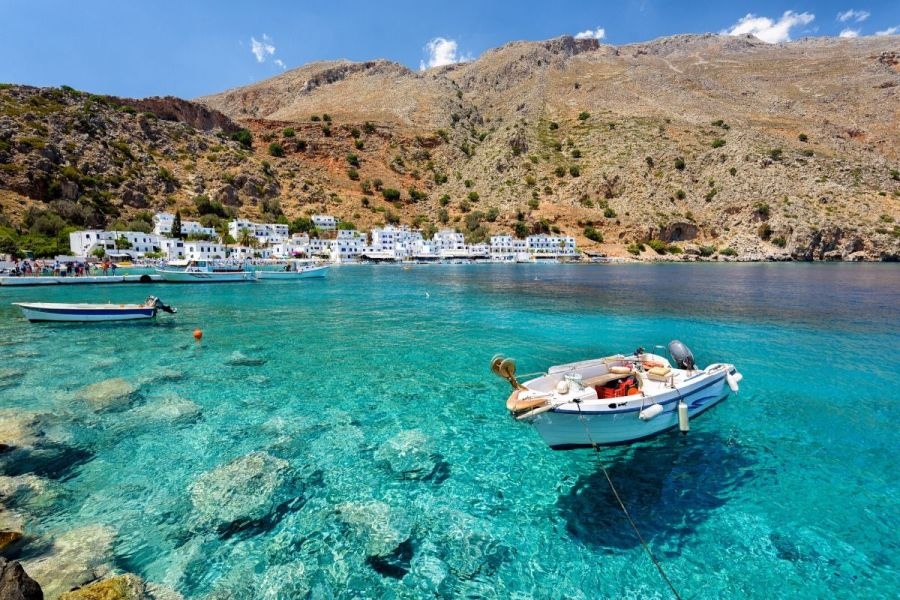 Crystal clear blue waters on the island of Crete, Greece