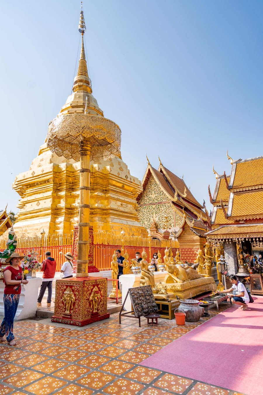 Beautiful golden temple at Doi Suthep in Chiang Mai