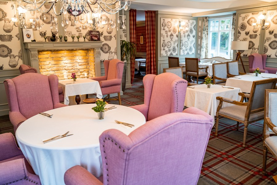 Cozy interior with pink armchairs at Émile Budapest