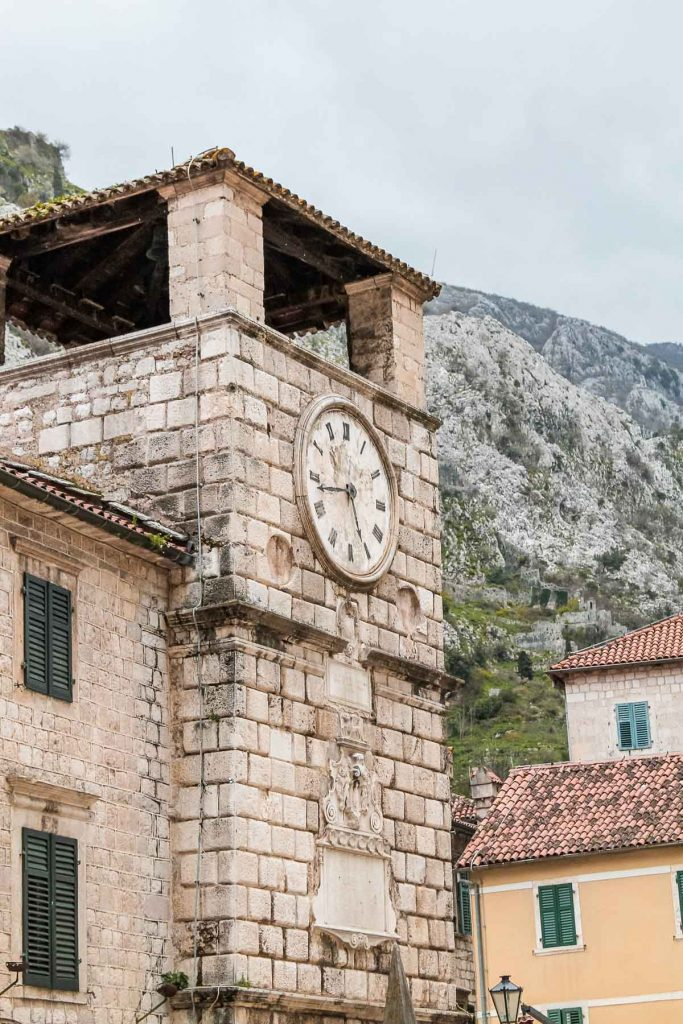Clock tower in Kotor, Montenegro