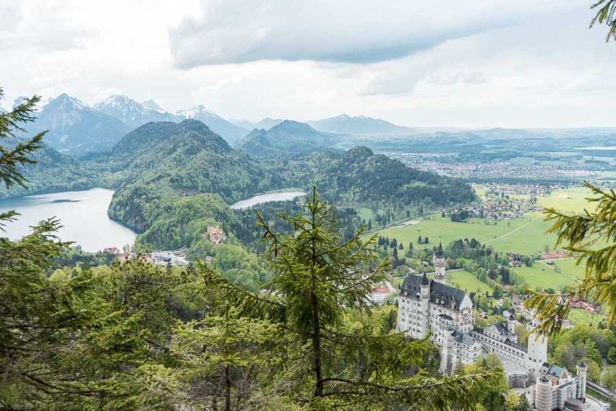 View of the Neuschwanstein Castle and the Hohenschwangau Castle from an upper viewpoint