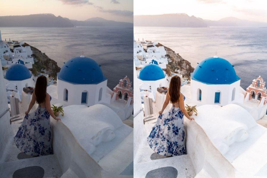 Santorini Before-After with Lightroom Presets