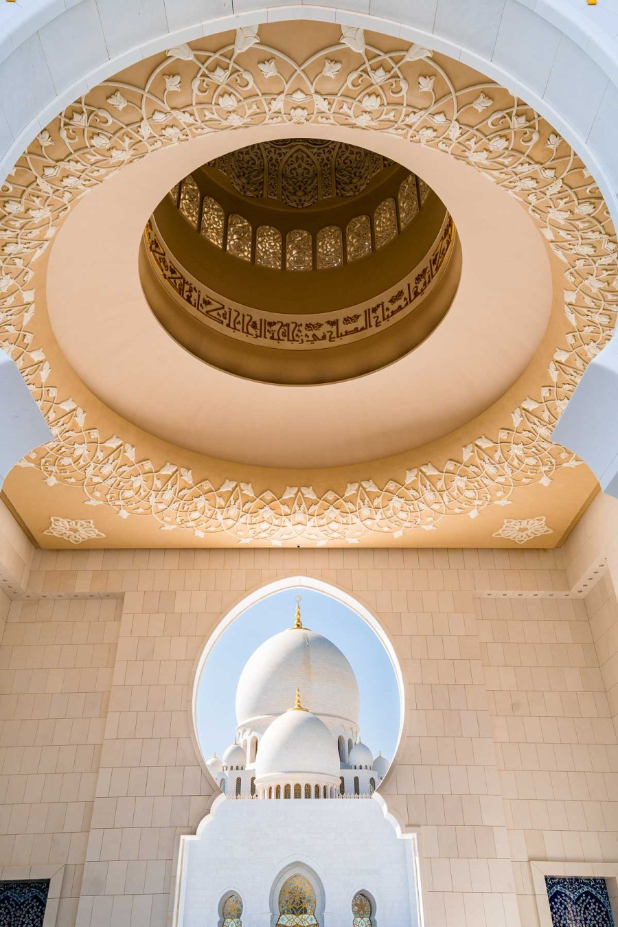 Ceiling at the entrance of Sheikh Zayed Mosque in Abu Dhabi