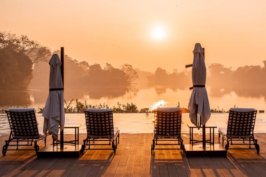 Sunrise by the pool in Lotte Hotel Yangon