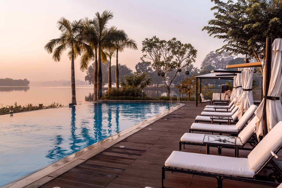 Sunrise by the pool in Lotte Hotel Yangon 2