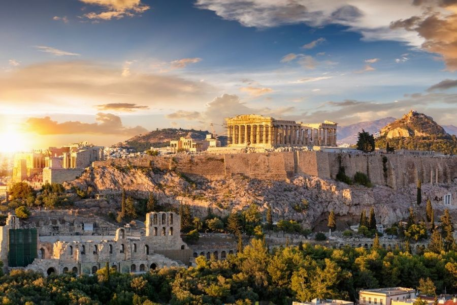 Sunset at the Acropolis in Athens, Greece
