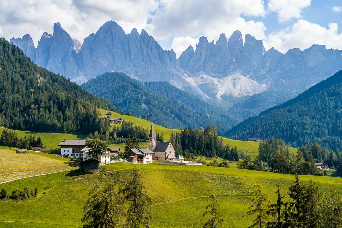 View of Santa Maddalena Church in Val di Funes, Dolomites