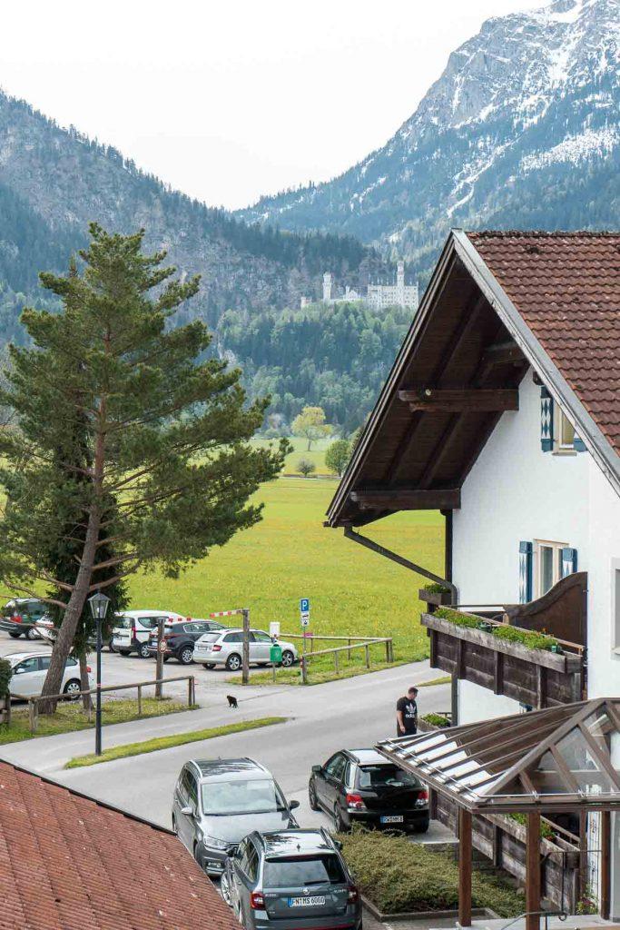 View of the Neuschwanstein Castle from Hotel Weinbauer