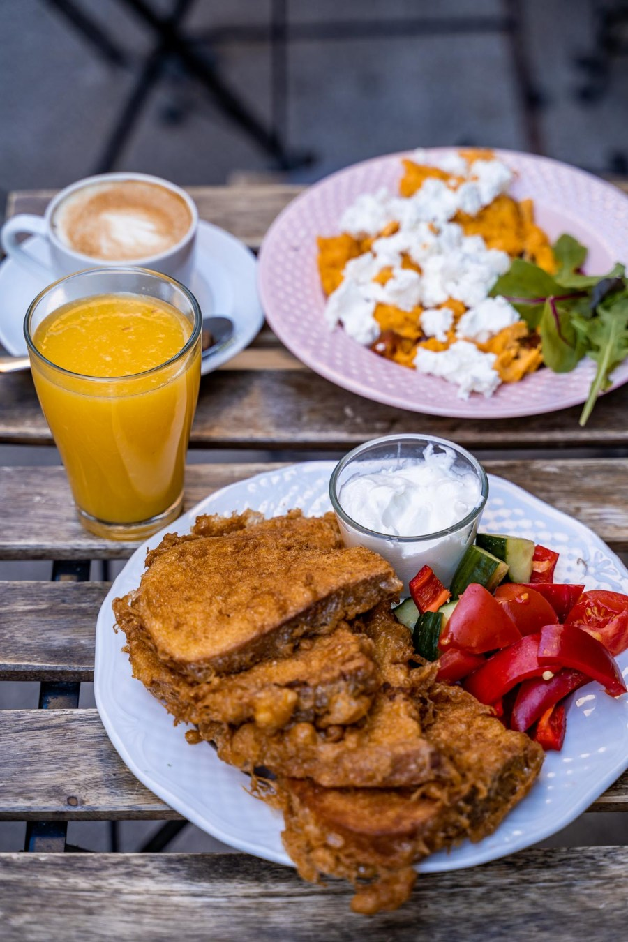 Savory French toast for breakfast at Zoska in Budapest