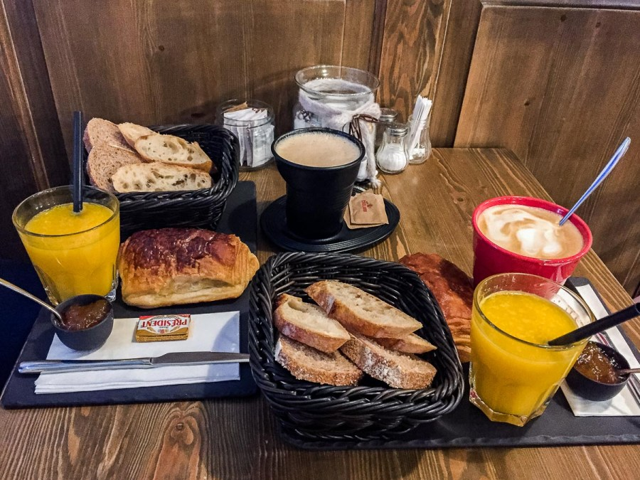 Classic French breakfast at á table Madách tér in Budapest