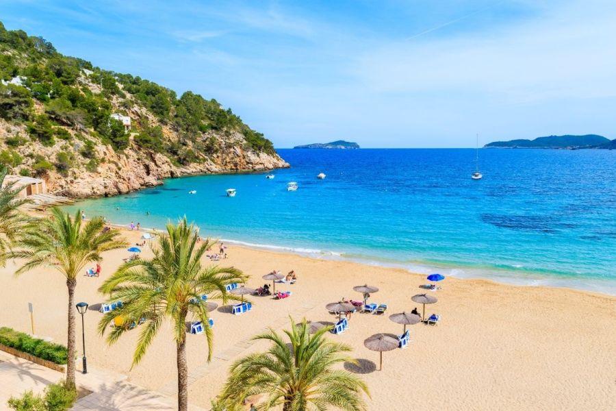 Beautiful white sandy beach at Cala San Vicente in Ibiza
