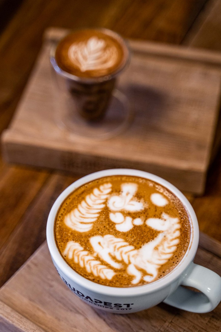 Beautiful latte art at Ristr8to Specialty Coffee in Chiang Mai