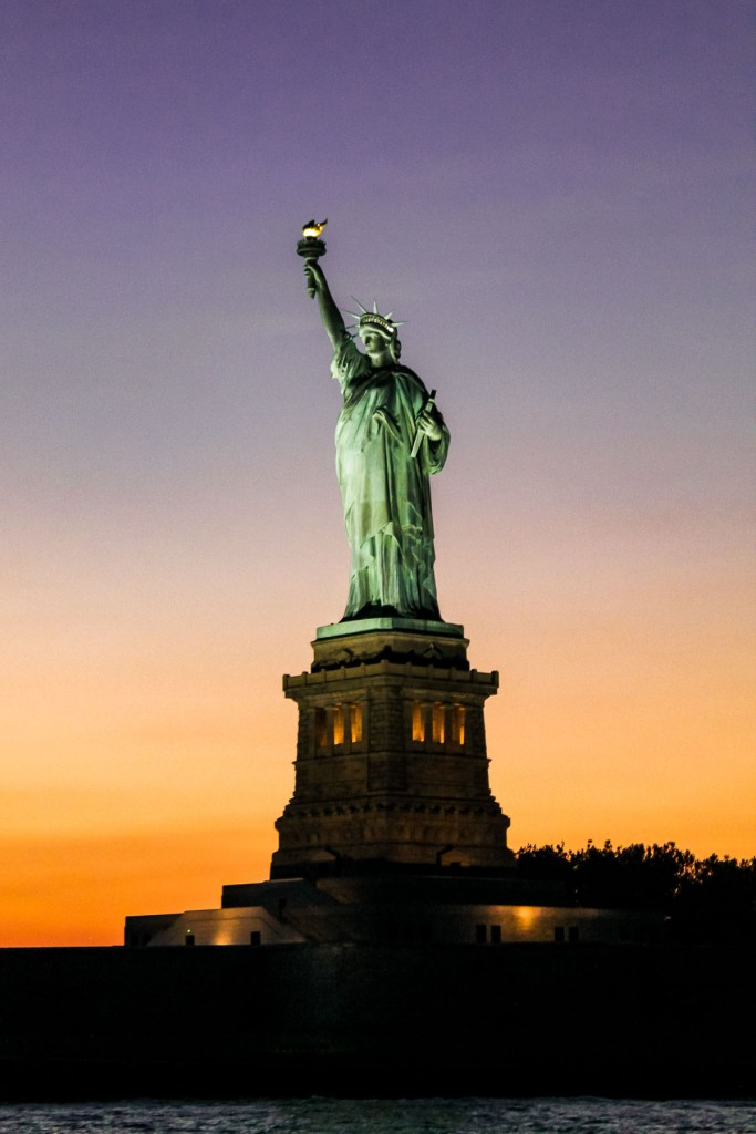 Statue of Liberty at sunset