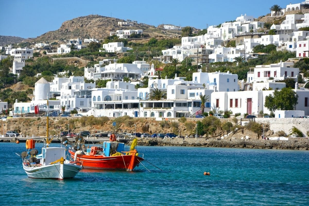White washed houses in Mykonos Town