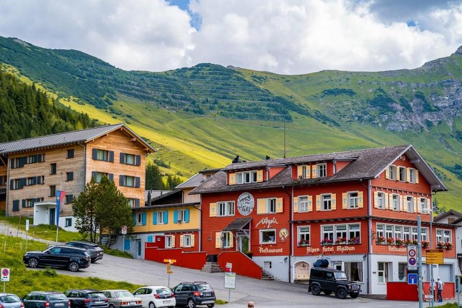 Colorful houses in Malbun, Liechtenstein