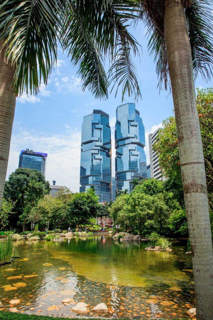 Beautiful pond in Hong Kong Park