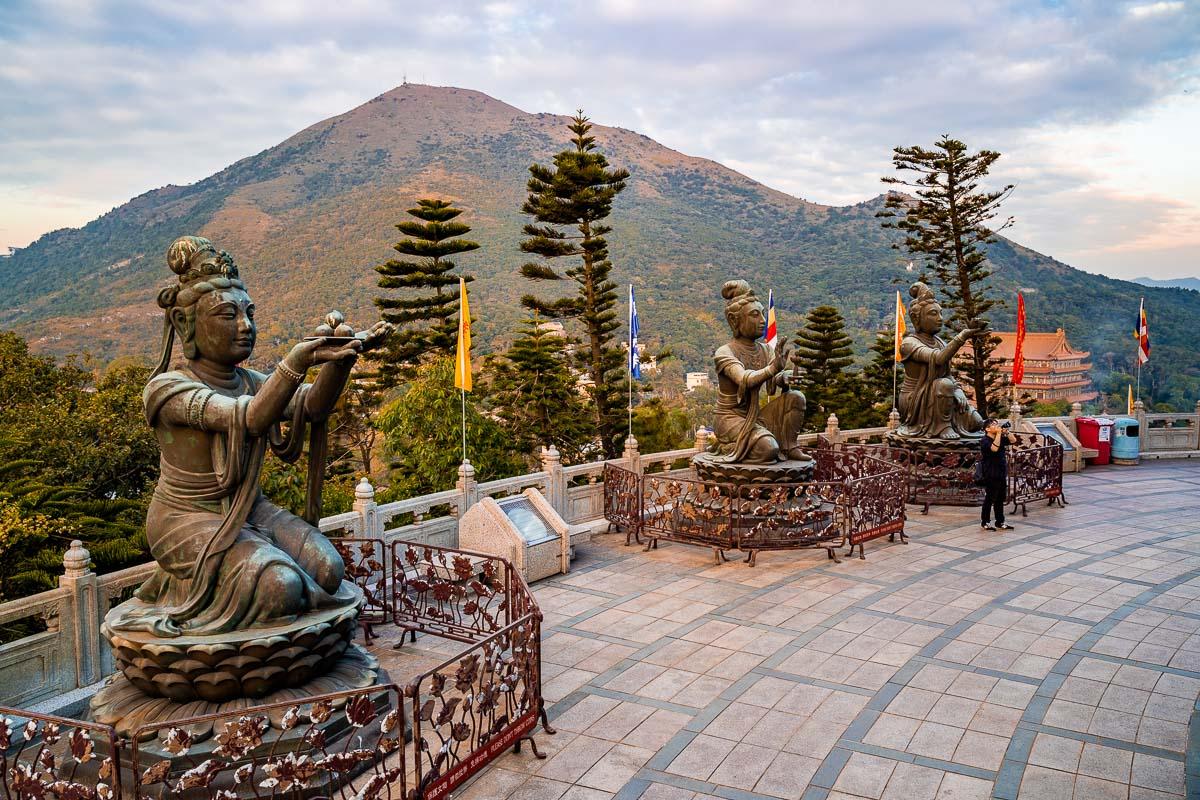 Statues around Tian Tan Buddha in Hong Kong