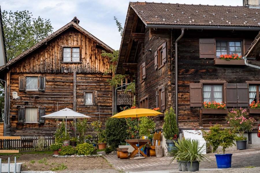 Wooden houses in Planken, Liechtenstein