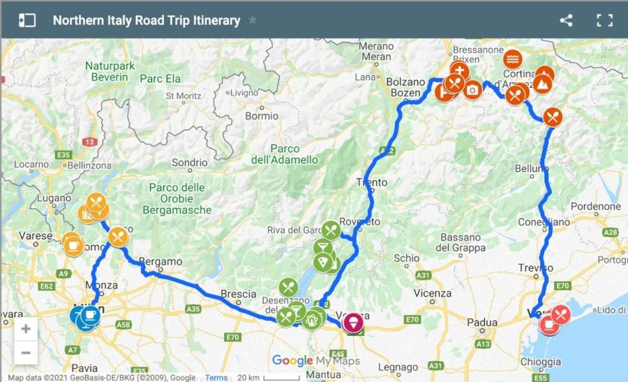 Northern Italy Road Trip Itinerary Map