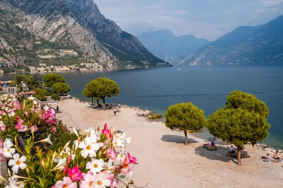 Panoramic view of Lake Garda in Limone sul Garda